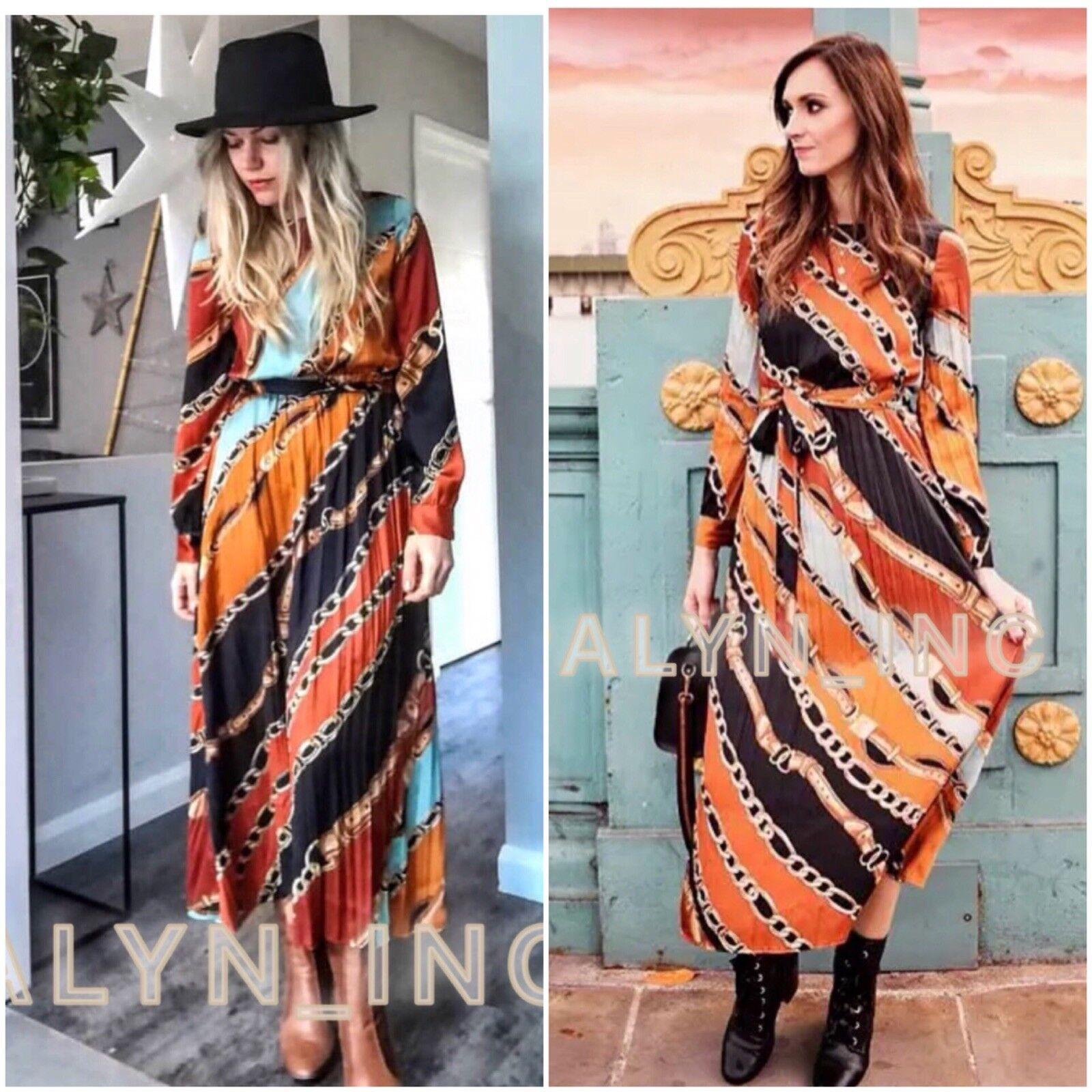 Nwt Zara Aw18 Plissiert Rundhals Kette Bedruckt Midi Kleid mit   Gürtel 8527 433