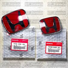 2pcs Honda Civic Sedan 4dr 06 15 Red Jdm H Front Rear Type R Emblem Grille Set Fits 2012 Honda Civic