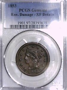 1853 Large Cent PCGS Genuine Env. Damage - XF Details 28393638 Video