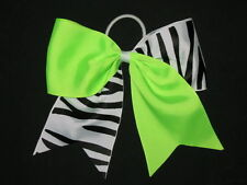"NEW ""NEON GREEN & ZEBRA"" Tick Tock Cheer Bow Pony Tail Ribbon Girls Cheerleading"