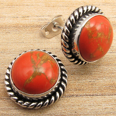 Studs Posts Earrings !! Genuine ORANGE COPPER TURQUOISE Silver Plated Jewelry