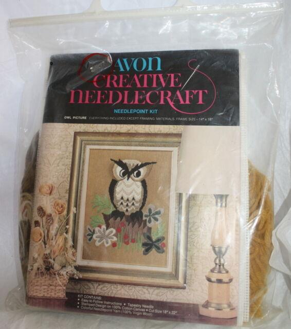 VTG 1973 Avon Creative Owl Picture Needlepoint Kit Needlecraft