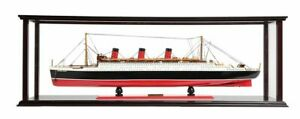 RMS-Queen-Mary-Ocean-Liner-Wood-Model-32-034-Cunard-Lines-w-Table-Top-Display-Case