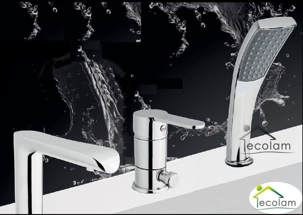 Set Badewannenarmatur Handbrause Badewanne Auslauf Wannenrand Armatur 3 Loch RO