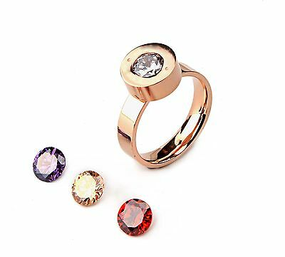 Rose White Gold GP Stainless Steel Interchangeable Cubic Zirconia Ring 6 7 8