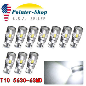 10x Super Bright White T10 5630 6SMD LED CANBUS Backup Reserve Tail Lights Bulbs
