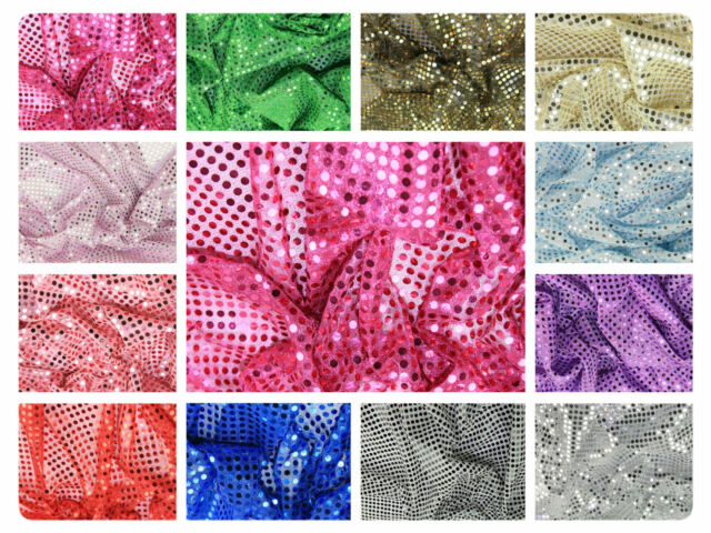 """Sequin Fabric - Shiny Sparkly Material - 44"""" (112cm) wide - 6mm & 3mm"""