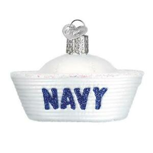 034-Navy-Cap-034-32377-X-Patriotic-Old-World-Christmas-Glass-Ornament-w-Owc-Bx