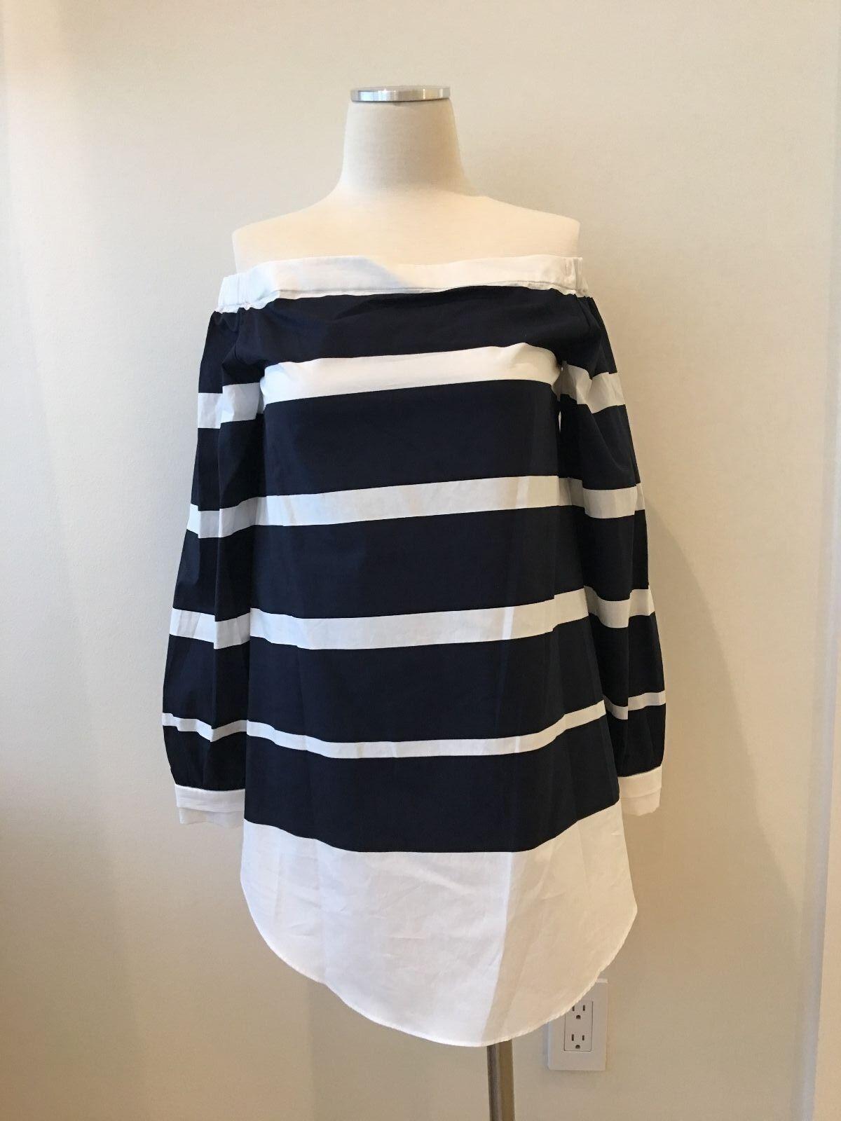 Derek Lam 10 Crosby Off Shoulder Blouse Navy Weiß Striped Cotton Poplin NWT Nei