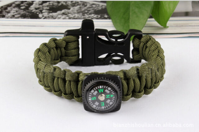 Army Green Bracelet Outdoor Survival Equipment  Compass Buckle Whistle RA