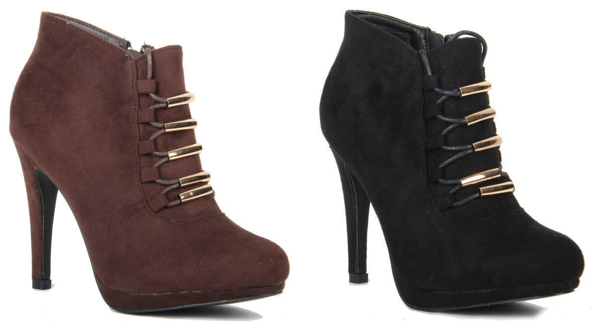 Womens Ladies Golden Lace & Zip Up Stiletto Heel Faux Suede Ankle Winter Boots