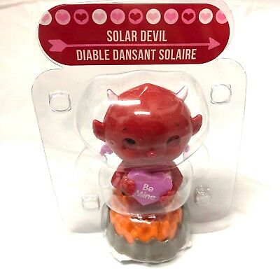 Solar Powered Dancing Red Devil Valentine Car Dash Sun Catcher New in Package