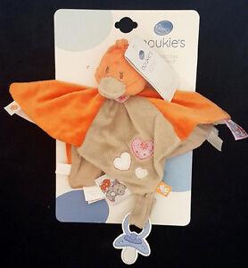 Doudou-carre-plat-Tidou-Babette-Canard-Oiseau-Noukie-039-s-Noukies-gris-orange