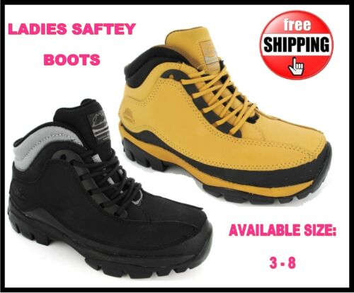 WOMANS SAFETY LIGHTWEIGHT BOOT BLACK HONEY  STEEL TOE CAP LACE UP TRAINER SZ 3-8