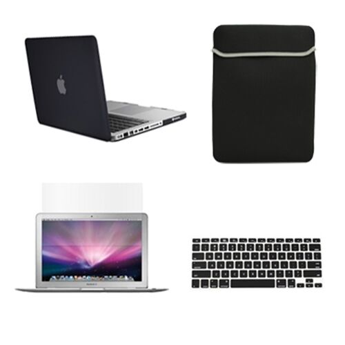 Bag LCD Screen Keyboard Cover 4in1 Rubberized BLACK Case for Macbook PRO 13/""
