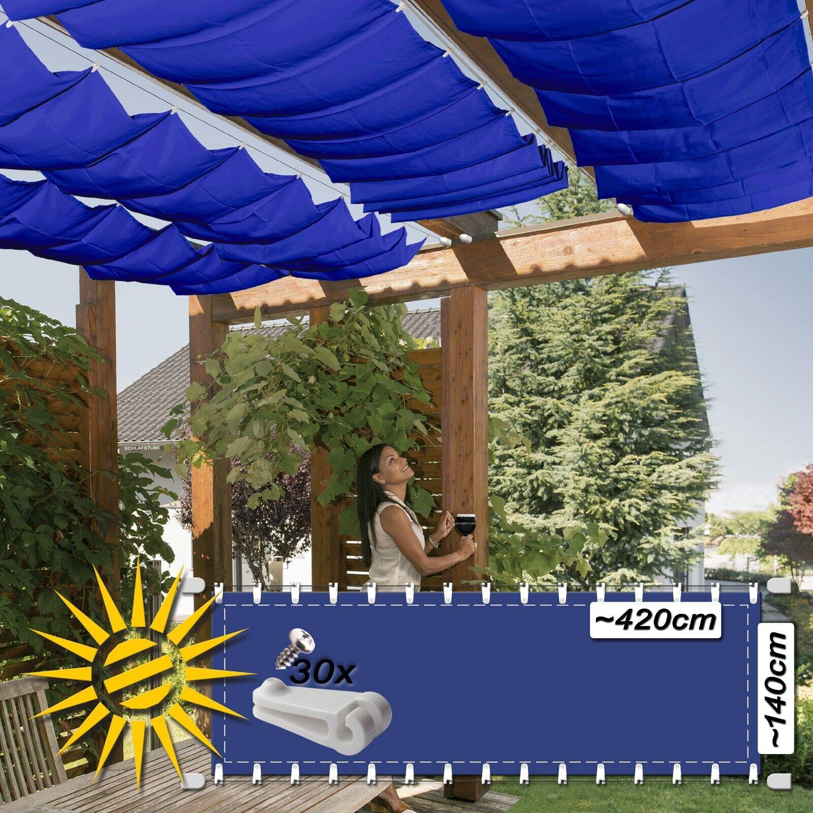 Corda serraggio Tenda Scuro Blu circa 420x140 cm VELA PARASOLE GIARDINO d'inverno SORVEGLIANZA