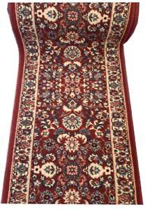 Hallway-Runner-Carpet-Rug-Red-67cm-Wide-Rubber-Backed-Floral-Per-Metre-Floor-New