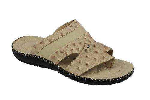 Homme Faux Imprimer Sandales en cuir bout Grip Summer Slip On Mules Taille 6 7 8 9 10 11