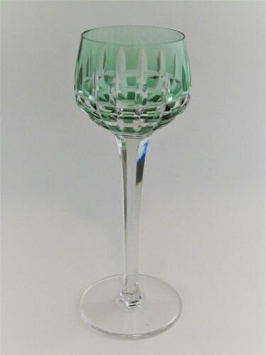 St Saint Louis Crystal MANHATTAN Cut to Clear Emerald Green Wine Hock Goblet