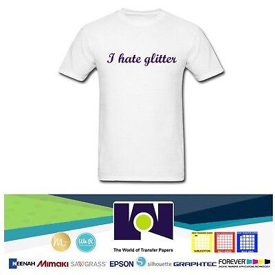 HT GLITTER INKJET TRANSFER PAPER FOR LIGHT AND WHITE FABRICS 8.5 X 11