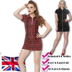 Black-Red-Gothic-Punk-Emo-Rockabilly-Retro-Lace-Up-Mini-MOD-Dress-BANNED-Apparel