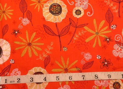 Lady Bug florece con flores de tela 100/% algodón Clothworks 1760-79 Flores en Rojo