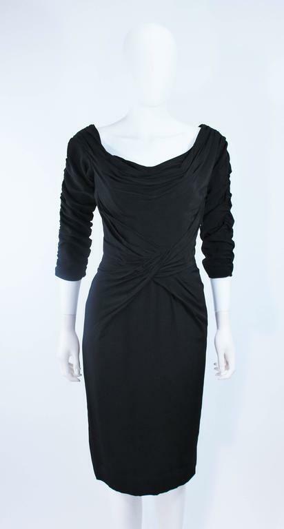 CEIL CHAPMAN Black Gathered Cocktail Dress Size 4… - image 3