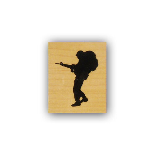 Soldier Silhouette with pack mounted rubber stamp military troops hero CMS#4