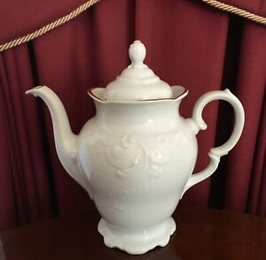 VINTAGE-WAWEL-MADE-IN-POLAND-HARBRO-FINE-PORCELAIN-COFFEE-POT-C1950-1990-039-S
