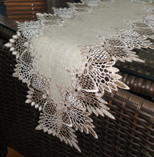 """65/"""" Dresser Scarf Shelf Mantel Table Runner EARTH Doily FEATHER LACE"""