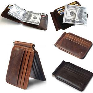 Slim-Thin-Mens-Leather-Wallet-Money-Clip-Credit-Card-ID-Holder-Front-Pocket