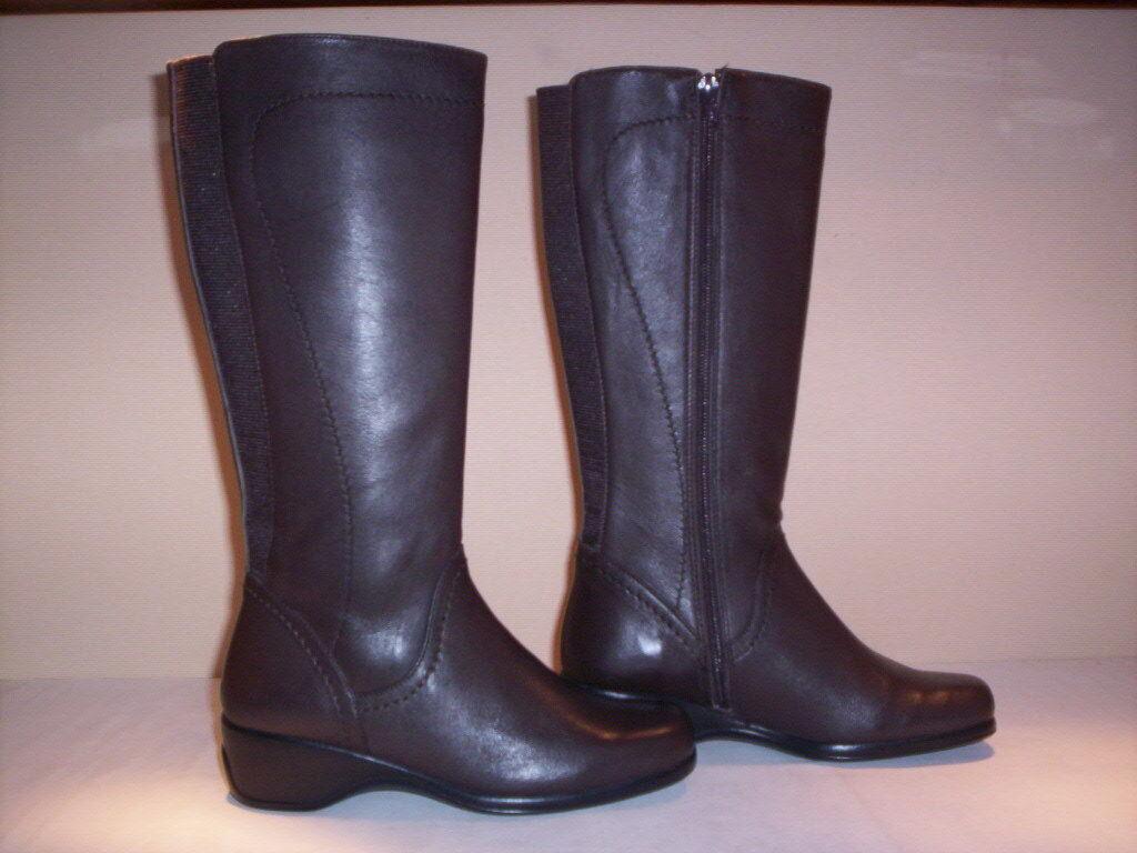 Botas altas a la rodilla Flexell mujer boots cuña piel marrón cremallera 36