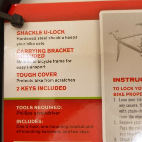 Schwinn MAX SECURITY Key Keyed Bike U-Lock 15mm Solid Steel Shackle w// Bracket