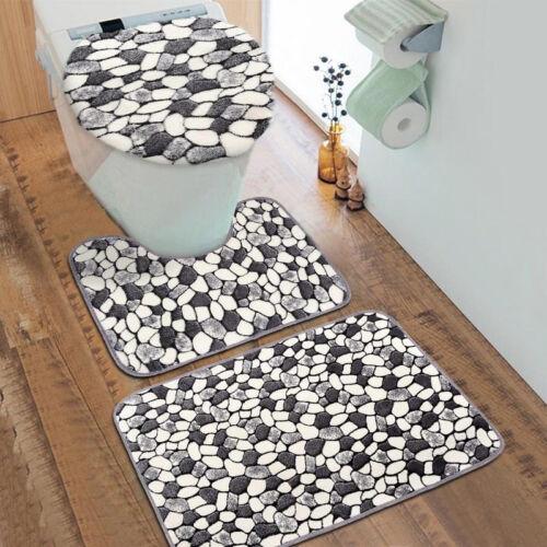 3Pc Stone Pattern Washable Anti-Slip Bathroom Pedestal Rug Carpet Cover Bath Mat
