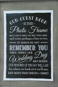 Photo Signing Frame Instructions Guest Book Print Vintage