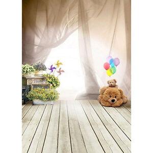 Cute Baby Kids Photography Background Ballon Bear Floor