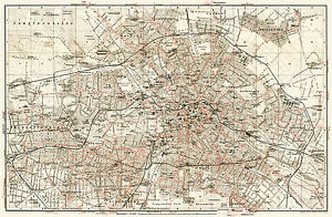 Berlin Subway Map Poster.Details About Berlin City Map From 1911 With Tram U Bahn Wagner Debes Vintage Print Poster