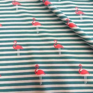 Stoff-Meterware-Jersey-Baumwolle-gestreift-Flamingo-petrol-pink-neon-Meterpreis