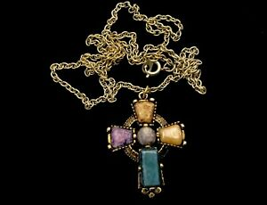VINTAGE-Gold-Celtic-Cross-Scottish-Agate-Glass-Pendant-24-Chain-Necklace-BOXED