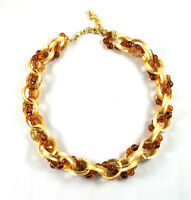Kenneth Jay Lane Satin Gold Links/amber Beads Twist Necklace