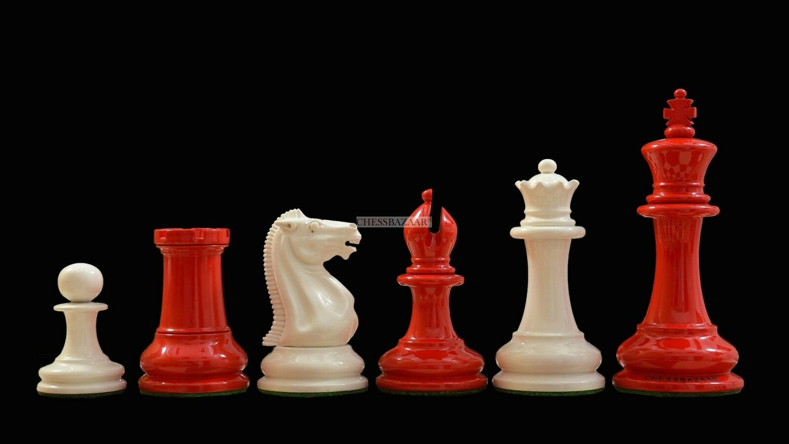 Reproduced Reproduced Reproduced 1849 Staunton Pattern Chess Set in Lacquer Crimson&Ivory White - 4.5  15f6b3