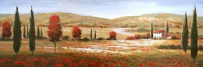 Nan: Tuscan Poppies I Fertig-Bild 30x90 Wandbild Toskana mediterran Landschaft