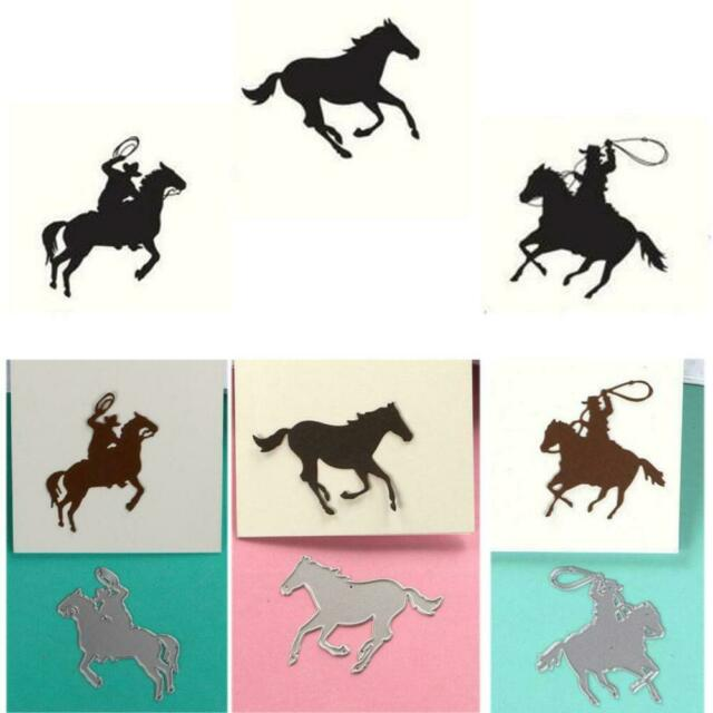 METAL CUTTING DIES animals horse rider for man hunting racing Scrapbook die cut