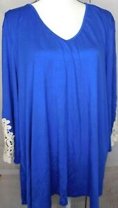 Anthony-Richards-Royal-Blue-Plus-Sz-2X-Long-Sleeve-With-Crochet-Sleeves-Top