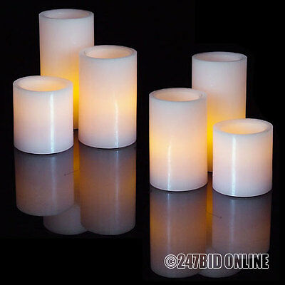 6 x PINK REAL WAX FLAMELESS LED MOOD CANDLES FLICKERING FLAME WITH BATTERIES