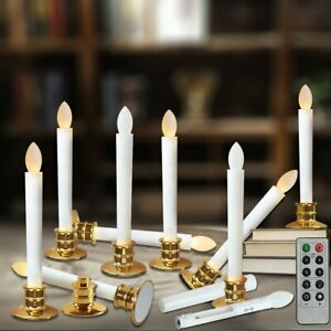 LED-Flameless-Taper-Candle-Light-Electric-Candles-Remote-Golden-Holder-w-Timer