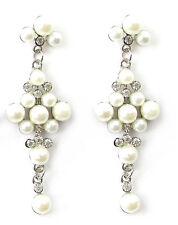 Long Art Deco White Silver Pearl Earrings Diamante Bridal Wedding Stud Drop 945
