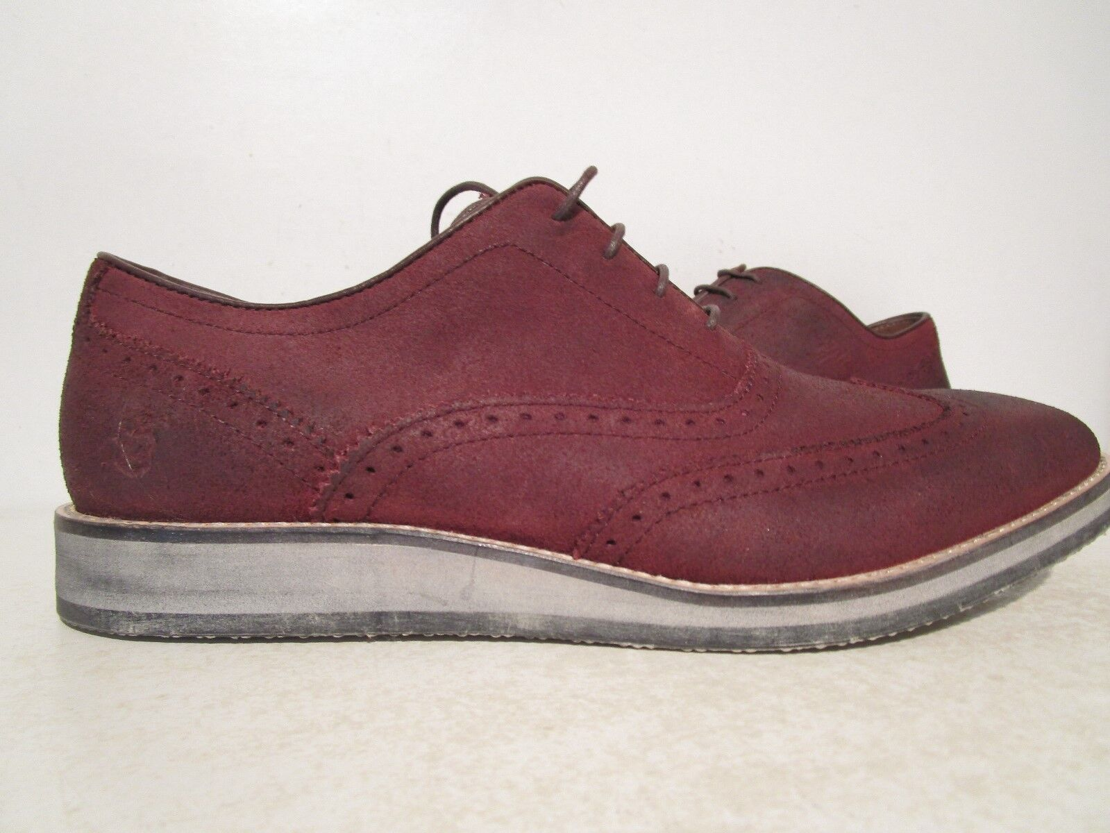 Andrew Marc Mens Mens Mens Rockwood Suede Casual Dress Oxfords Oxblood Weiß Natl Größe 8 D d3740d