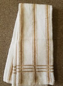 Details About Set Of 2 Kitchen Towels White With Light Brown Stripes Terry  Cotton