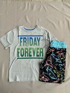 NWT-Gymboree-10-12-L-Boys-Swimsuit-And-Friday-Forever-Shirt